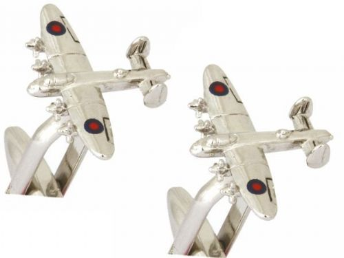 RAF Lancaster Bomber Aircraft Plane Cufflinks Silver Plated